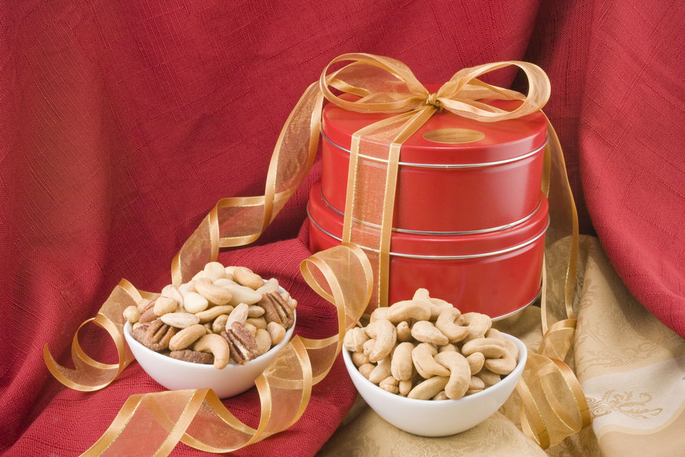Giant Whole Cashews/Superior Mixed Nut Gift Tin Tower from Nuts in Bulk - Gifts with Free Shipping