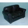 Loveseat, Black Leather    <br />T6517