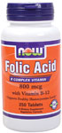 Folic Acid 800mcg + B-12 25mcg - Vegetarian 250 Tabs, NOW Foods