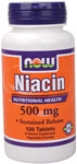 Niacin Supplement 500mg - 100 Tablets, NOW Foods