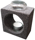 Natural Lava Stone Aromalamp With Palm Wax Tea Light