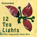 Unscented Tea Lights, 12 Pack, Red