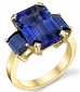 Awesome 10 carat GEM Tanzanite & Blue Sapphire 3 Stone Yellow Gold Ring - Perfect Color Balance - SOLD