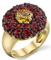 Extraordinarily Unusual HTHP Fancy Intense Yellow Diamond with Red Sapphire Round Accents Handmade Dome Ring - SOLD