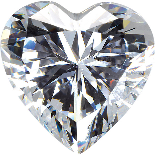 Genuine Colorless Cubic Zirconia Gemstone in Heart Shape Sized 4.00 mm