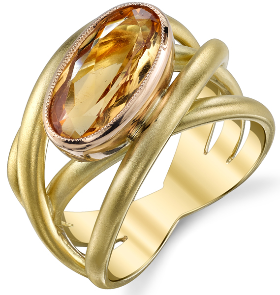 Modern Overlapping 4-Band 18kt Yellow & Rose Gold Ring With Bezel Set 3.06ct Cushion Topaz Gem