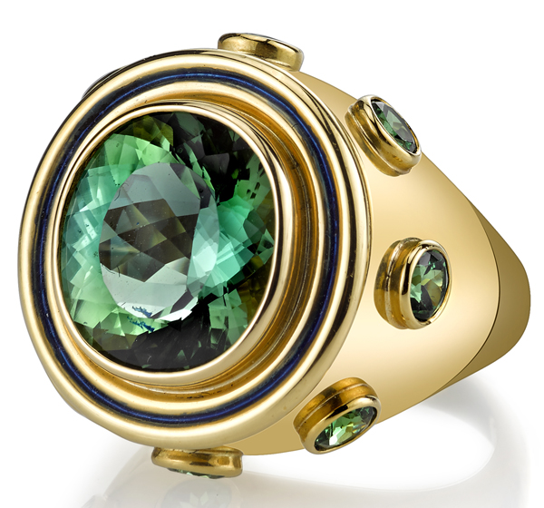 Unique 10.57ct Oval Green Tourmaline Custom Ring in 18kt Chunky Yellow Gold - 8 Round Tsavorite Garnet Accents