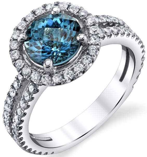 Custom Rare Blue Tourmaline Halo Ring - Micro Pave Diamond Split Shank Band in 18kt White Gold