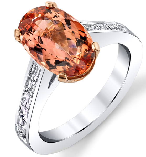 Stunning Oval Cut Imperial Topaz Solitaire Ring in 18kt White & Rose Gold - Diamond Baguettes in Band