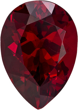 Rare Red Spinel Loose Fine Gem in Pear Cut in Vivid Pure Red Color, 7.9 x 5.6 mm, 1.3 carats