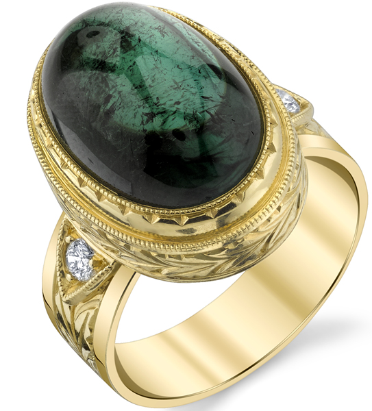Magnificent Hand Made Bezel Set 14.01ct Cabochon Green Tourmaline 18 karat Yellow Gold Ring With Diamond Accents