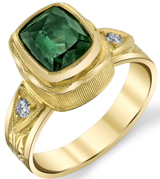 Lovely Hand Made Bezel Set 2.48ct Cushion Blue-Green Tourmaline 18 karat Yellow Gold Ring With Diamond Accents