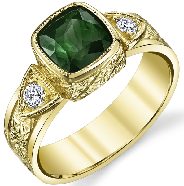 Ornate Hand Carved 18kt Yellow Gold Ring With Bold Green Chrome Tourmaline 1.58ct Cushion Cut Gem - Diamond Side Gems