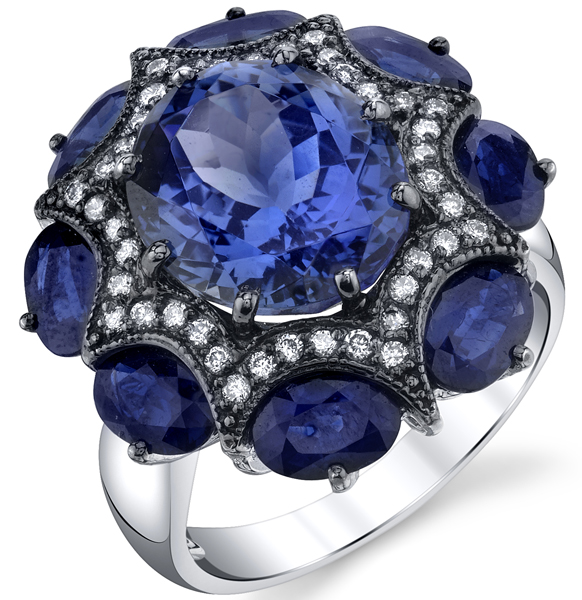 Striking 7.42t Tanzanite Gemstone Ring With Unique Diamond Accented Curved Star Feature - 8 Oval  Blue Sapphire Accents