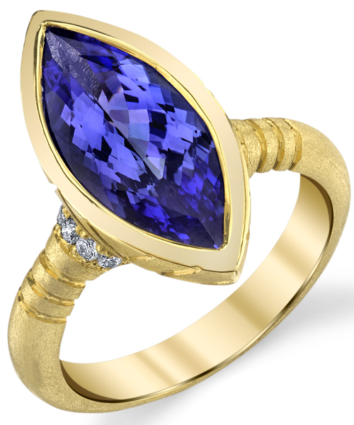 Handcrafted Chic Bezel Set 18kt Yellow Gold Marquise 4.29ct Tanzanite Gemstone Ring - Diamond Accents