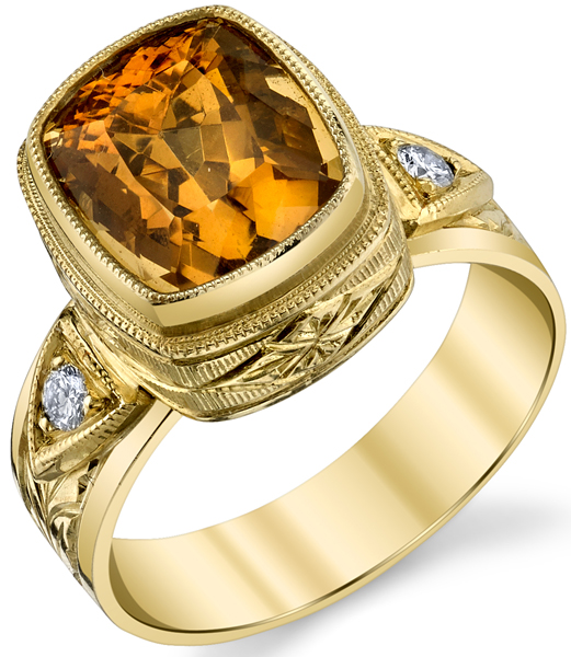 Lovely Hand Made Bezel Set 5.73ct Cushion Cut Orange Zircon 18 karat Yellow Gold Ring With Diamond Accents