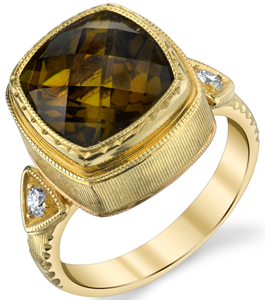 Hand Made Bezel Set 12.2ct Cushion Cut Yellow Zircon 18 karat Yellow Gold Ring With Diamond Accents