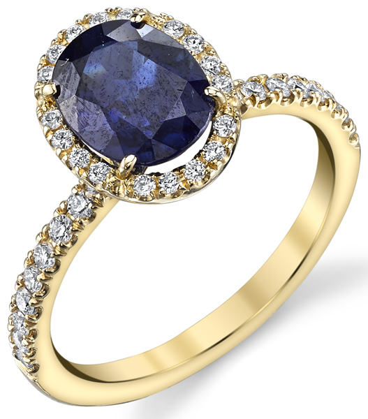 Stunning Engagement Style 2.16ct Oval Sapphire Halo Ring in 18kt Yellow Gold