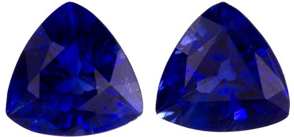 Bright & Lively Trillion Pair in Blue Sapphire Cut in Rich Blue, 3.8 mm, 0.52 carats