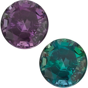 Round Cut Genuine Alexandrite in Grade AA