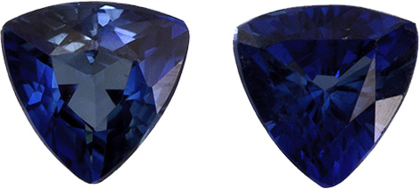 Fiery Navy Blue Sapphire Well Matched Pair in Trillion Cut, 2.9 mm, 0.2 Carats