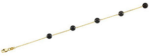 14KT Yellow Gold Solid Black Onyx Station 18