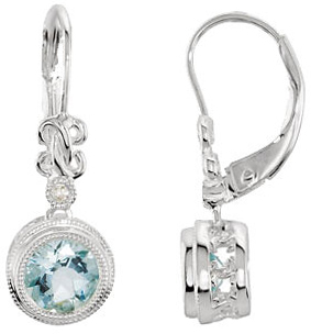 14KT White Gold Aquamarine & .02 Carat Total Weight Diamond Earrings