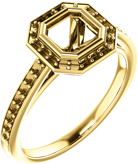 Bezel Set Halo Ring Mounting for Asscher Shape Centergem Sized 5.00 mm to 7.00 mm - Customize Metal, Accents or Gem Type