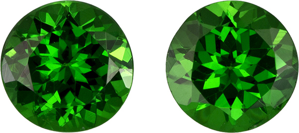 Fiery Tsavorite Garnets in Well Matched Pair in Round Cut, 5 mm, 1.17 Carats - SOLD