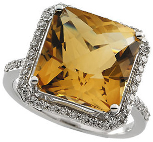 Citrine Halo-Style Ring