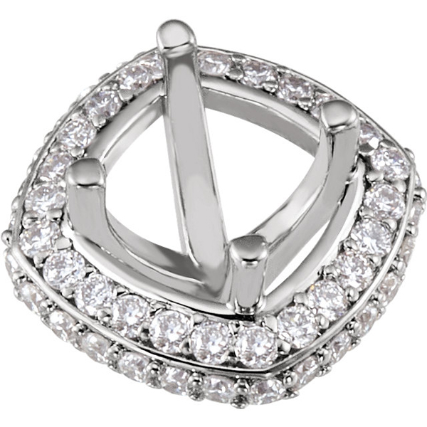 Classy Pre-Set Halo Accented Peg Setting for Round Shape Gemstone Sized 5.25 mm - 6.50 mm - Customize Metal Type
