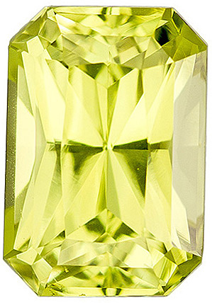 Dazzling Faceted Chrysoberyl Gem in Radiant Cut, Neon Lime Yellow Color, 8.7 x 6 mm, 2.27 carats