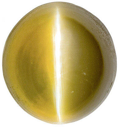 Fine Catseye Loose Gemstone, Rich Greenish Golden Color, 6.2 x 6.1 mm, 1.77 carats