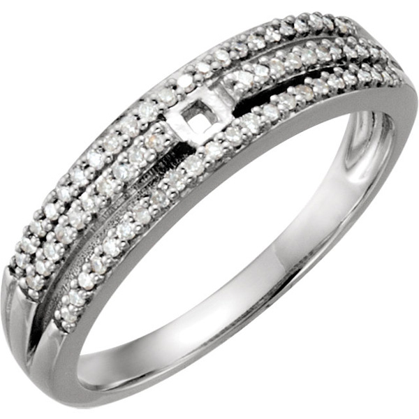 Glamorous Triple Band Micro-Melee Preset Shank for Peg Setting in 14kt White Gold With 1/5ctw Diamond Accents