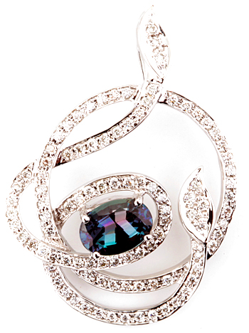 Gorgeous Spiraling Diamond Design Pendant With Amazing Brazilian Alexandrite Gemstone - 14k White Gold - 0.88 carats, 7.09 x 4.85 mm