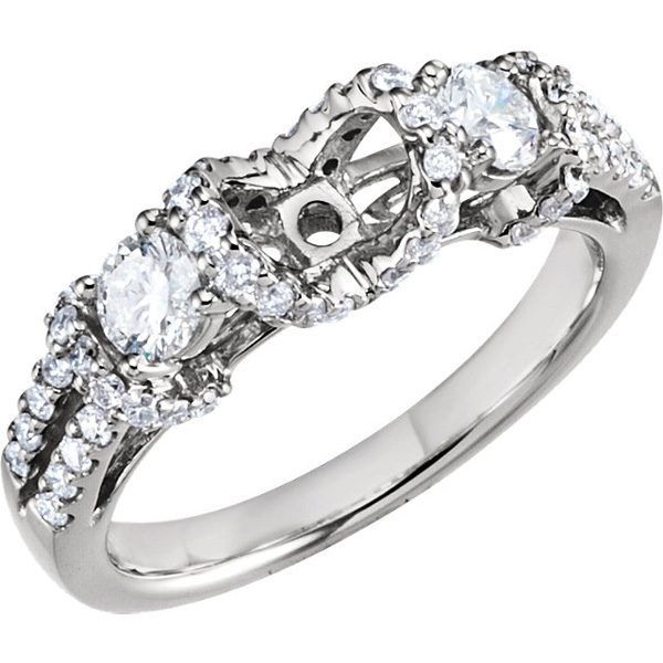 Incredible 14kt White Gold Semi Set Diamond Accented Shank With Diamond Side Gems - 1ctw Diamonds