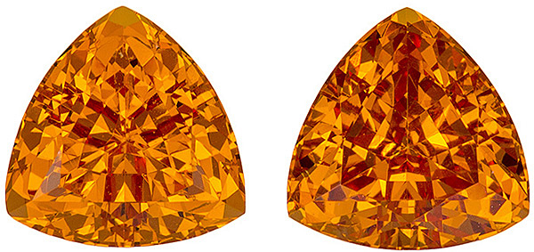 Lively Orange Spessartite Garnet Matched Pair in Trillion Cut, Sunkist Orange, 7.3 mm, 4.08 carats - AfricaGems