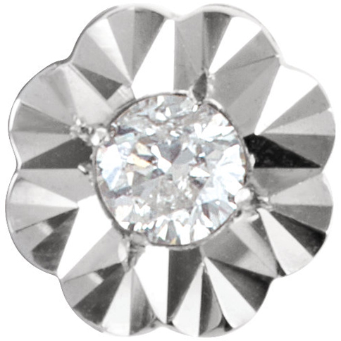 Lovely Flower Style Illusions Preset Tube Setting With Screw in 14kt White Gold - Choose Diamond Size
