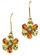 Multi-Gemstone & Diamond Floral Design Earrings