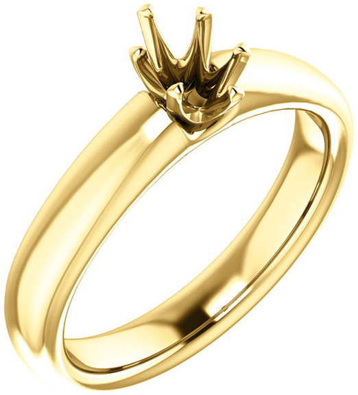 Oval 6-Prong Solitaire Ring Mounting for 6.00 x 4.00 mm to 12.00 x 10.00 mm Center - Customize Metal, Accents or Gem Type