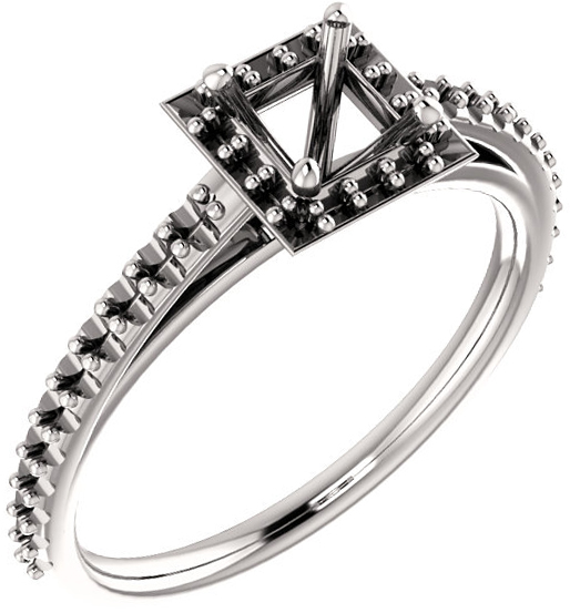 Square Halo Style Engagement Ring Mounting for 4.00 mm - 9.00 mm Center - Customize Metal, Accents or Gem Type