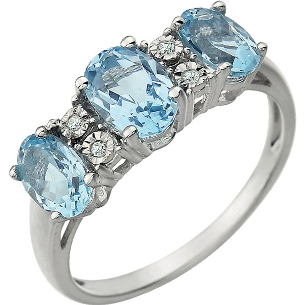Stylish 1ct 7x5mm 3-Stone Sky Blue Topaz 14k White Gold Ring With .02ct Diamond Accents