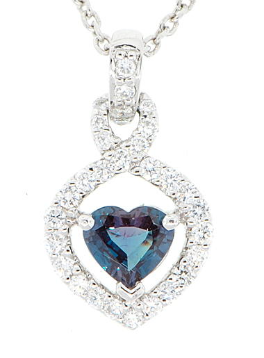 Stunning Rare .28ct 4mm Heart Shape AAA Grade Alexandrite & Pave Diamond Pendant set in Platinum