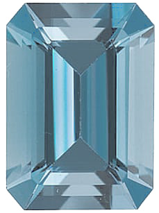 Emerald Cut Genuine Aquamarine in Grade AAA
