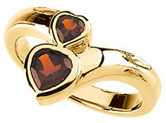 Mozambique Garnet Double Heart Ring