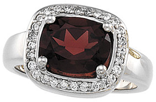 Mozambique Garnet & Diamond Halo-Style Ring