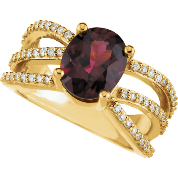 Rhodolite Garnet & Diamond Accented Ring
