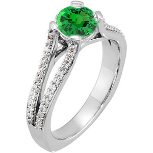 Unique Split Shank 4-Prong Genuine 1 carat 6mm Tsavorite Garnet Gemstone Engagement Ring - Diamond Accents Along Bands