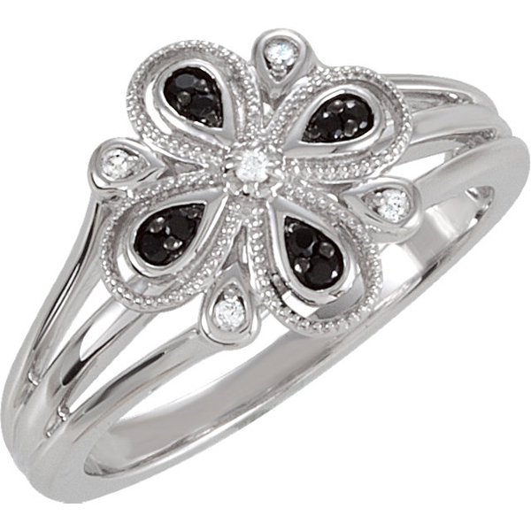 Super Stylish Floral Split Shank Sterling Silver Fashion Ring With .096ct 1.1-1.3mm Black Spinel & Diamond Accents - SOLD