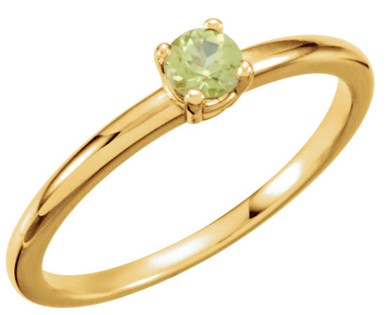Fabulous Peridot Gemstone Fashion Ring With .13ct 3mm Round Center - August Birthstone Ring